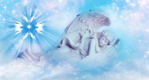 angel sleeping in mystical sky